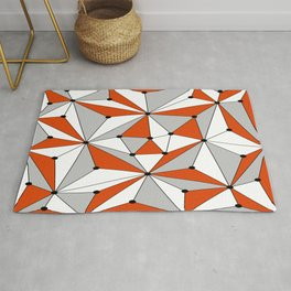 Abstract geometric pattern - orange, gray and white. Rug