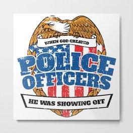 Patriotic Police Officers American Flag Metal Print