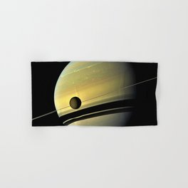 Saturn and its Moon Titan in Orbit Telescopic Photograph Hand & Bath Towel