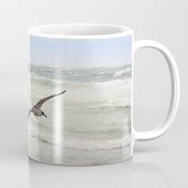 Seagulls flying over rough sea Coffee Mug