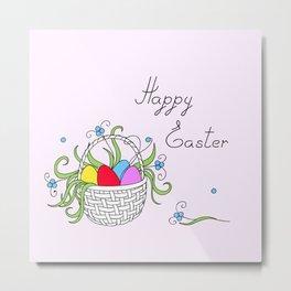 easter basket with eggs Metal Print
