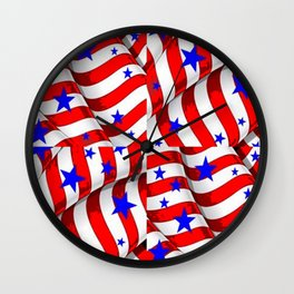 RED PATRIOTIC JULY 4TH BLUE STARS ART Wall Clock
