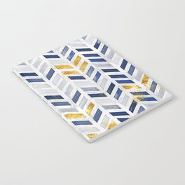 Herringbone chevron pattern.Indigo faux gold acrylic canvas Notebook