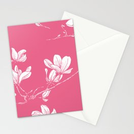 Seamless magnolia flower pink pattern in japan style Stationery Cards
