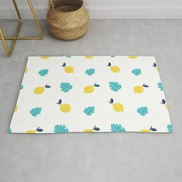 Modern sunshine yellow teal tropical cheese leaves summer fruit pattern Rug