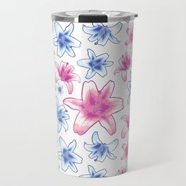 Pink and Blue Lily Pattern - Lovely Florals Travel Mug