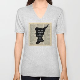 Peter Pan Over Vintage Dictionary Page - To Live Unisex V-Neck