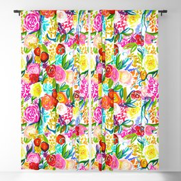 Bright Colorful Floral painting Blackout Curtain