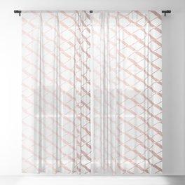 Rose Gold On White Foil Paint Line Dots Stripes Design XXI Sheer Curtain