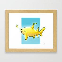 Cute Lemon Shark Pun Framed Art Print