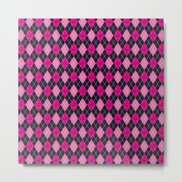 Pink baby showers skull chevron wave pink purple black pink Metal Print