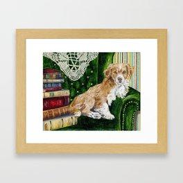 Sir Beckett, Dog With An Education Framed Art Print