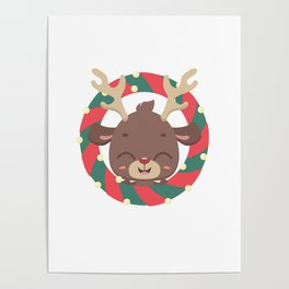 Cute reindeer and goodies in christmas stocking Poster