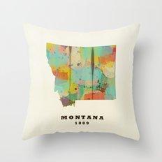 Montana state map modern Throw Pillow