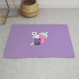 Pig with Purple Bubble Tea Rug