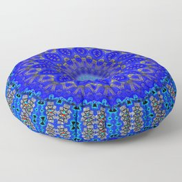 Mandala in Cobalt And Gold Floor Pillow
