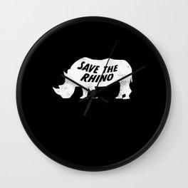 Save the Rhino Anti Poaching Rhinoceros Wall Clock