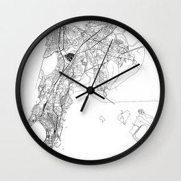 Mumbai White Map Wall Clock