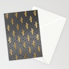 Gold Cactus on Modern Chic Geo Triangles Gradient Stationery Cards
