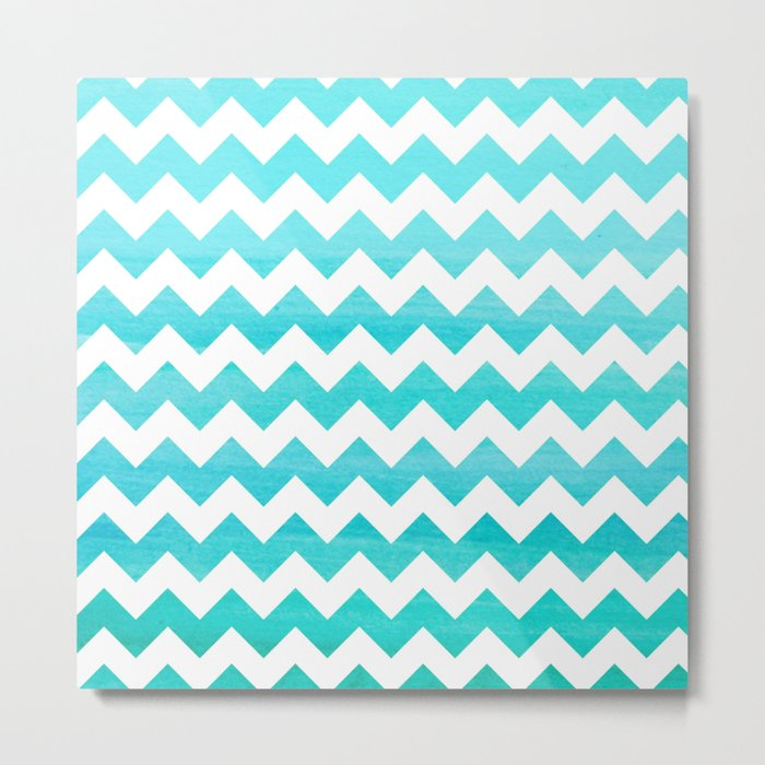 Aqua Blue chevron ZigZag Herringbone - watercolor on white pattern #Society6 Metal Print