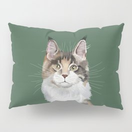 Maine Coon in Green Pillow Sham