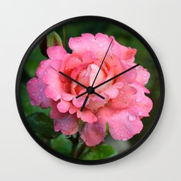 Lacy Pink Rose Wall Clock