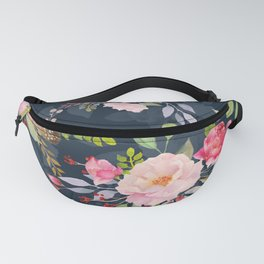 Watercolor Roses Beautiful Floral Pattern Pastel Pink Red Roses Green Leaves Gouache Painting Fanny Pack