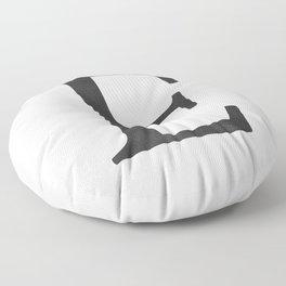 Letter E Initial Monogram Black and White Floor Pillow