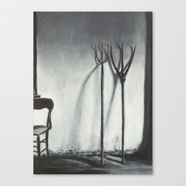 Farm house still life with pitchforks and chair Canvas Print