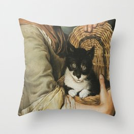 Ceruti– Portrait of girl with a cat in a basket Throw Pillow