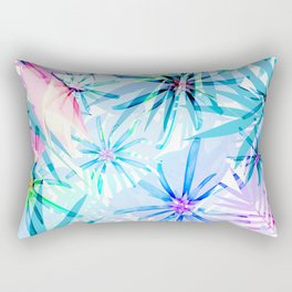 Flashy Colorful Tropical Flowers Design Rectangular Pillow