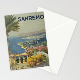 Vintage Travel Poster - Sanremo - Vintage Italy Travel Poster Stationery Cards