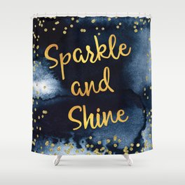 Sparkle And Shine Gold And Black Ink Typography Art Shower Curtain