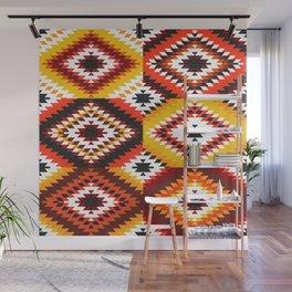 Colorful patchwork mosaic, oriental kilim rug Wall Mural
