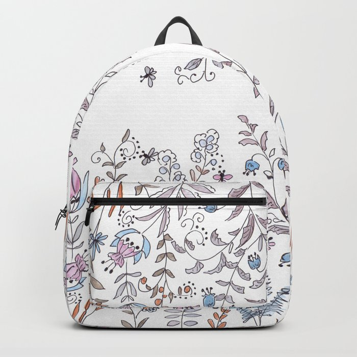 Watercolor pattern . The flowers of the field . Backpack