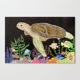 Sea Turtle, Reef Fish Canvas Print