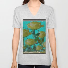 SHABBY CHIC TURQUOISE ANTIQUE IVORY YELLOW ROSE GARDEN Unisex V-Neck
