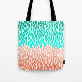 Leaves Teal and Coral Ombre Tote Bag