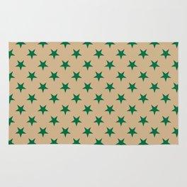 Cadmium Green on Tan Brown Stars Rug