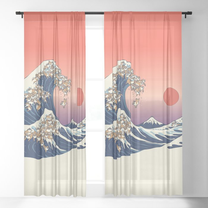 The Great Wave of Shiba Inu Sheer Curtain