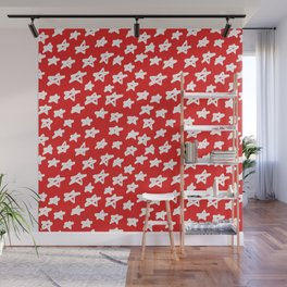 Stars on red background Wall Mural