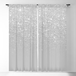 Trendy modern silver ombre grey color block Blackout Curtain