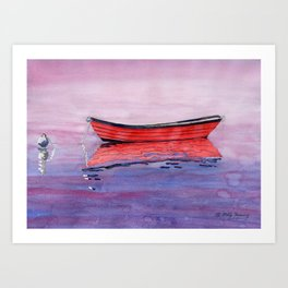 Red Dory Reflections Art Print