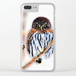 Winter Owl Watercolor Clear iPhone Case
