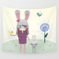 friendship Wall Tapestries featuring Friendship by Esther Ilustra