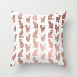 Modern faux rose gold cats pattern white marble Throw Pillow