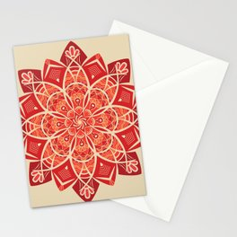 Sunny bright rays of floral mandala Stationery Cards