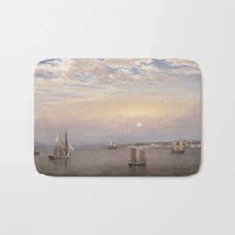 Fitz Henry Lane, 1804-1865 Castine Harbor and Town, 1851, blue sky,landscape Bath Mat