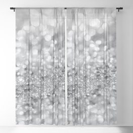 Silver Gray Lady Glitter #1 #shiny #decor #art #society6 Sheer Curtain