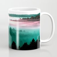 mountains Mugs featuring Misty Mountains Morning : Magenta Mauve Teal by 2sweet4words Designs